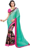 Indianbeauty Printed, Solid Bollywood Pure Chiffon, Pure Georgette Saree(Multicolor)