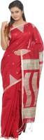 B3Fashion Geometric Print Kosa Silk Saree(Red)