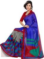 Vibes Printed Fashion Cotton Saree(Blue)