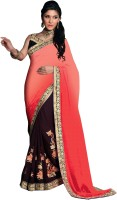 Kanheyas Embroidered Fashion Handloom Satin, Chiffon Saree(Multicolor)