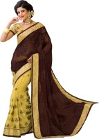 M.S.Retail Embroidered Fashion Shimmer Fabric, Brasso Saree(Brown)