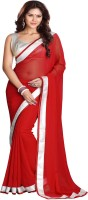 Sourbh Sarees Self Design Fashion Georgette Saree(Red)