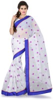 Weavedeal Embellished, Embroidered Bollywood Cotton, Chanderi Saree(Blue)