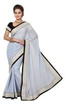 Ishin Embellished Fashion Georgette Saree(White)