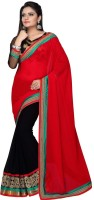 Nairiti Fashions Solid Bollywood Georgette Saree(Red, Black)