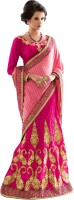 Khushali Self Design, Embroidered Fashion Net Saree(Pink)