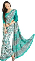 Khushali Printed Fashion Crepe Saree(White, Green)
