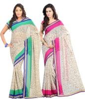 Lookslady Printed Fashion Chiffon Saree(Pack of 2, Beige)