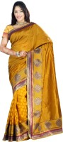 Indi Wardrobe Woven Banarasi Handloom Banarasi Silk Saree(Yellow)