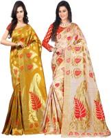 Weavedeal Embellished Kanjivaram Silk Cotton Blend Saree(Pack of 2, Gold, Beige)