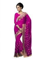 Suvastram Embroidered Fashion Chiffon Saree(Pink)