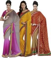 Indian Women By Bahubali Embellished Fashion Chiffon Saree(Pack of 3, Multicolor)