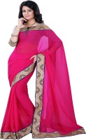 Sourbh Sarees Self Design Fashion Synthetic Georgette Saree(Pink)