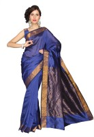 Vastrakala Solid, Striped Fashion Cotton, Silk Saree(Blue)