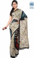 Tantuja Printed Fashion Handloom Silk Saree(White)