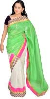 Jagadamba Solid Chanderi Silk Saree(Multicolor)
