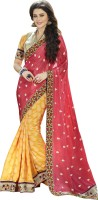 Khoobee Self Design, Embroidered, Embellished Fashion Silk, Jacquard, Georgette Saree(Yellow, Pink, Blue)