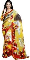 Khoobee Printed Fashion Poly Georgette Saree(Multicolor, Yellow)