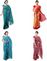 Fab Rajasthan Printed Bandhani Handloom Cotton Saree(Pack of 4, Green, Beige, Green, Maroon)