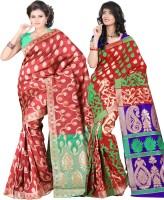 Its Banii Woven Banarasi Handloom Banarasi Silk Saree(Pack of 2, Red, Red)
