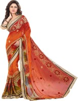 Sonal Trendz Embroidered Fashion Synthetic Georgette Saree(Orange)