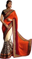 Nairiti Fashions Self Design Fashion Georgette Saree(Orange, Red, White)