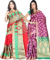 Its Banii Woven Banarasi Handloom Banarasi Silk Saree(Pack of 2, Red, Pink)