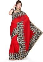 De Marca Printed Fashion Net Saree(Red, Black)