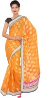 Shri Narayan Fashions Embellished Bollywood Handloom Viscose Saree(Orange)