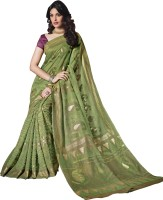 Bhavi Printed Fashion Art Silk Saree(Green)