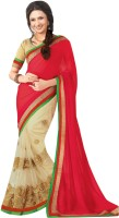 Indianbeauty Embroidered, Solid Bollywood Pure Chiffon, Net Saree(Red, Beige)