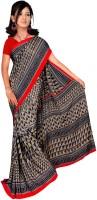 Khoobee Self Design, Printed Fashion Poly Silk Saree(Multicolor, Black)