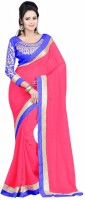 Winza Embroidered, Embellished, Solid Fashion Chiffon Saree(Red)
