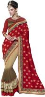Desi Butik Embellished Fashion Jacquard, Georgette Saree(Red, Brown)