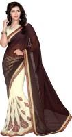 Khoobee Self Design, Embroidered, Embellished Fashion Cotton Blend, Chiffon Saree(Brown, Beige)
