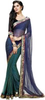 Vishal Printed Fashion Georgette Saree(Blue)