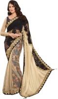 Saara Embroidered Fashion Silk Saree(Black, White)