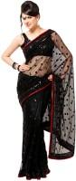 Aksh Fashion Self Design Bollywood Handloom Net Saree(Black)