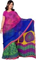 Khushali Checkered Fashion Georgette Saree(Multicolor)