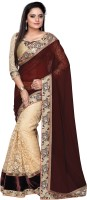 Orange and Orchid Embroidered Fashion Georgette Saree(Multicolor)