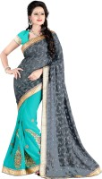 Jiya Self Design, Embroidered, Embellished Fashion Cotton Blend, Poly Georgette Saree(Light Blue, Grey)