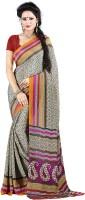 Jiya Self Design, Printed Fashion Poly Crepe, Poly Silk Saree(Multicolor, Red, Beige)