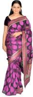Jagadamba Self Design Fashion Silk Saree(Pink, Black)