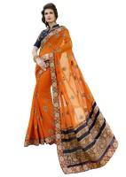 Kvsfab Embroidered Fashion Georgette Saree(Orange)