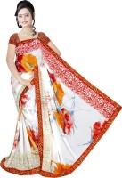 Khoobee Printed Fashion Poly Georgette Saree(White, Orange)