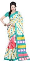 Indrani Polka Print Bollywood Silk Saree(Multicolor)