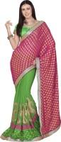 Khoobee Self Design, Embroidered, Embellished Fashion Chiffon Saree(Green, Pink)