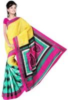 Jiya Self Design, Printed Fashion Poly Silk Saree(Multicolor, Pink, Yellow)