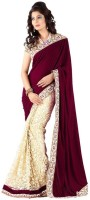 Aksh Fashion Embroidered Bollywood Velvet, Net Saree(Maroon)