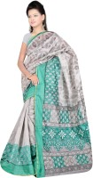 Patankar Fab Printed Fashion Printed Silk Saree(Grey)
